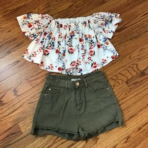 Summer outfit bundle jean shorts 00 top S EUC